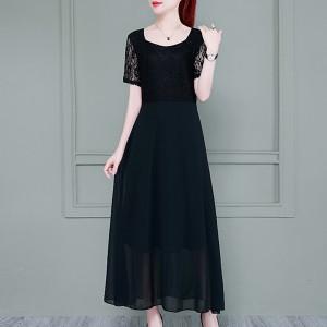 Round Neck Long Chiffon Summer Wear Dress - Black
