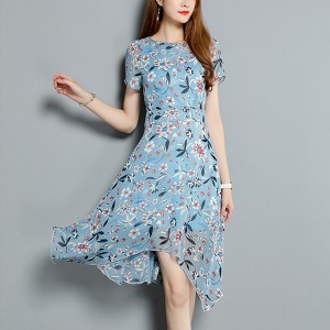 Floral Prints Chiffon Irregular Mini Dress - Blue