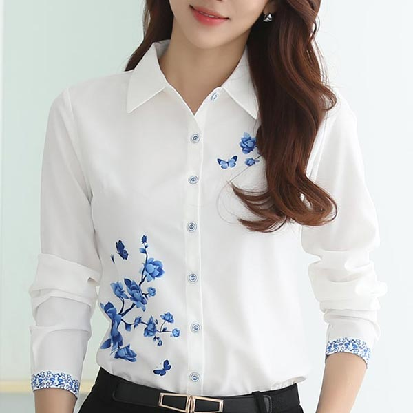 Floral Print Long Sleeves Suit Neckline Blouses - White