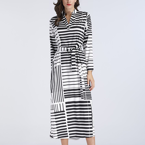 Lines Printed Stand Neck Midi Summer Dress