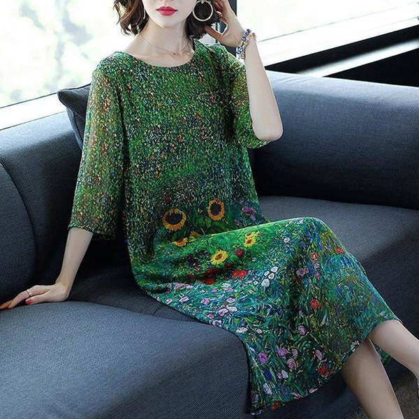 Chiffon Sun Flower Prints Midi Summer Dress - Green