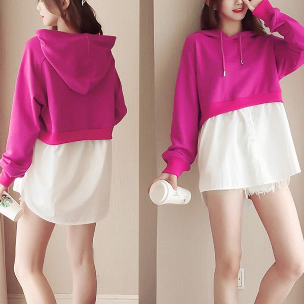 Fake Two Piece Hoodie Full Sleeves Long Shirt - Hot Pink