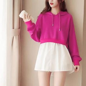 Fake Two Piece Hoodie Full Sleeves Long Shirt - Hot Pink