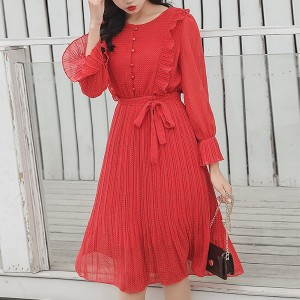 Doll Pattern Flared Sleeves Pleated Mini Dress - Red