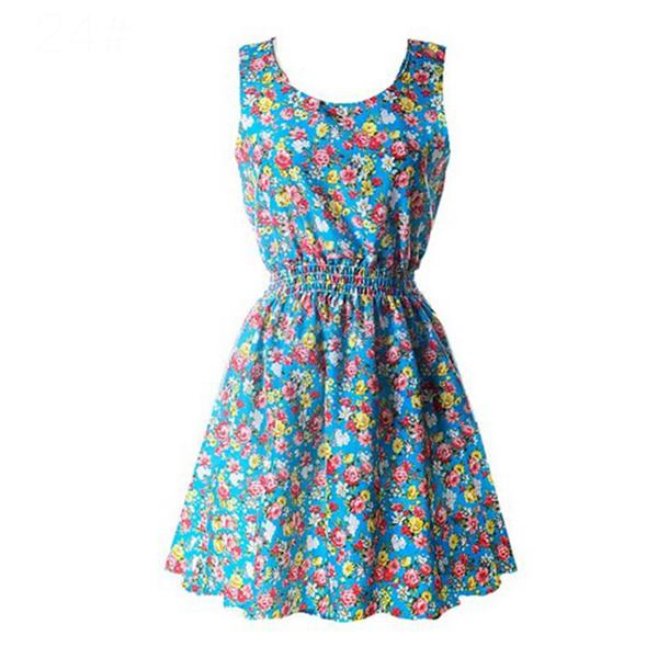 Different Design Retro Vintage Floral Printed Mini Dress Style 24
