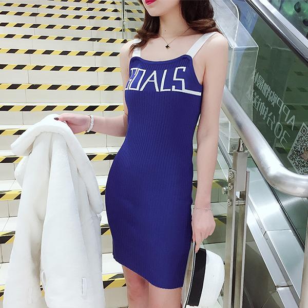 Strap Shoulder Free Size Ribbed Mini Dress - Blue