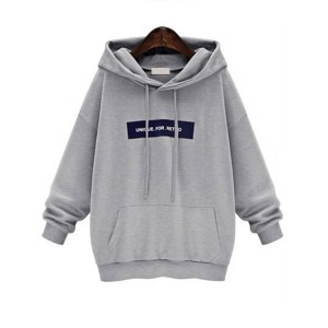 Loose Grey Long Sleeves Hoodie Top