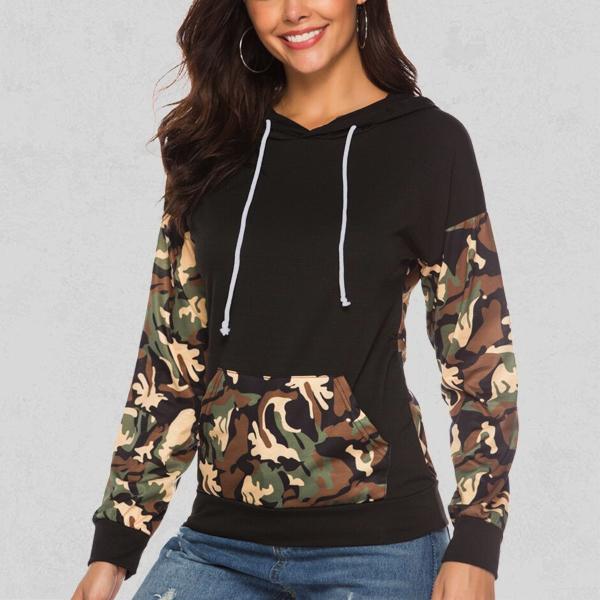 Army Prints Women Hoodie T-Shirt - Black