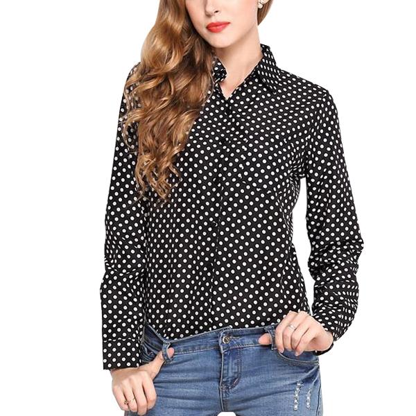 Black And White Polka Dot Shirt Full Sleeve Women Chiffon Shirt