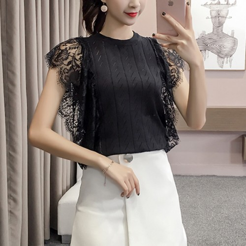 Lace Bat Sleeved Summer Wear Blouse Top - Black