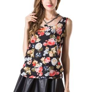 Pretty Lady Vintage Blouse Shirts Sleeveless Boho Casual Tops