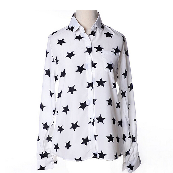 New Fashion Chiffon Shirts Turn-down Neck White Ladies Blouse Top