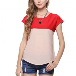 Fashion Ladies Hit Color Top Patckwork Beautiful Loose Blouse
