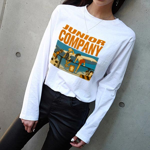 Long Sleeve Pullover Round-neck T-shirt - White