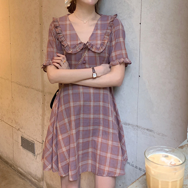 Check Prints Shirt Collar Summer Mini Dress