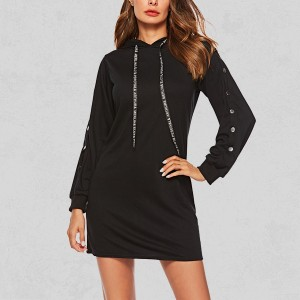 Simple Button Decorated Mini Dress - Black