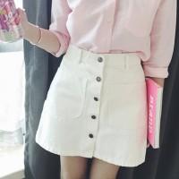 Denim Duo Pockets Trendy Mini Skirt - White
