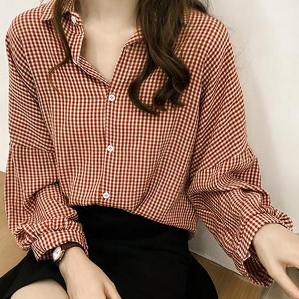 Mini Checks Loose Printed Blouse Shirt - Red