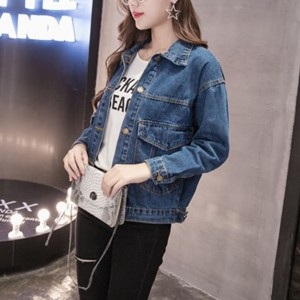 Long Sleeves Suit Neck Collar Denim Jackets -Dark Blue