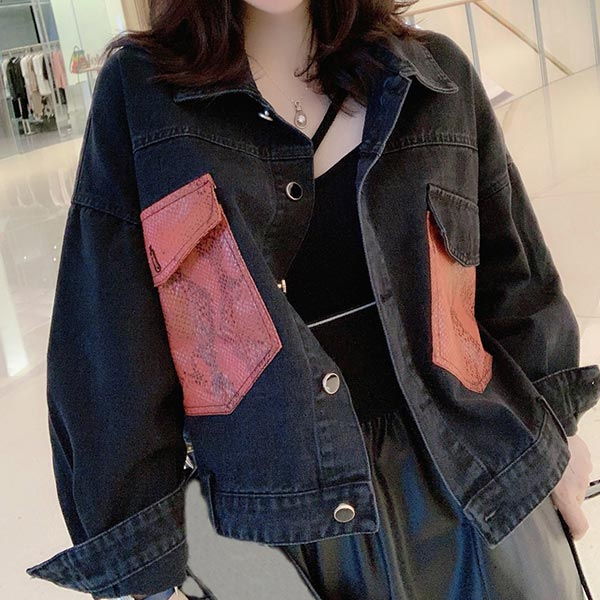 Lapel Retro Washed Wild Denim Women Jackets - Black