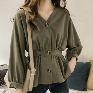 Waist Belt Button Up V Neck Blouse Shirt - Green
