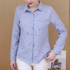 Printed Office Wear Formal Long Sleeves Shirt - Blue