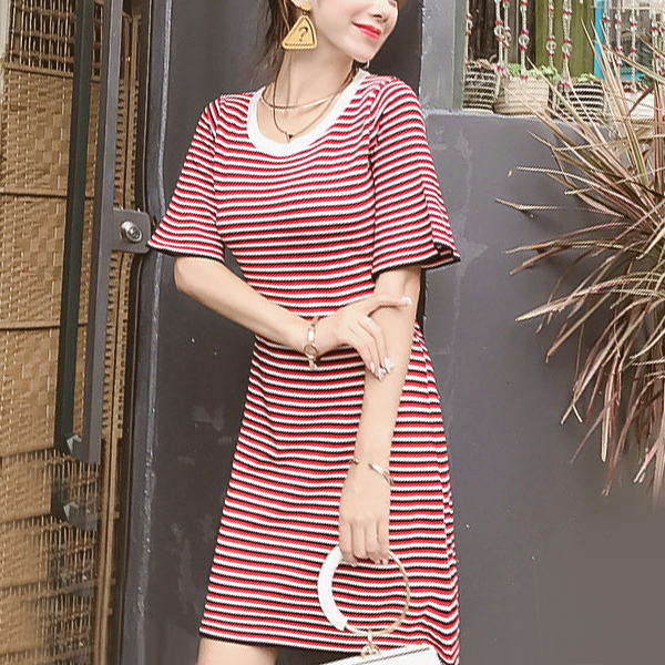 Split Back Round Neck Striped Mini Dress - Red