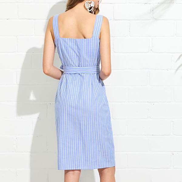 Backless Strap Shoulder Stripes Print Midi Dress - Blue