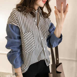 Lining Contrast Loose Women Long Sleeves Shirt