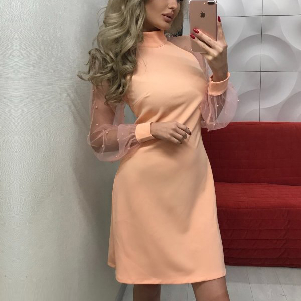 Net Sleeves Patch Mini Party Wear Dress - Apricot