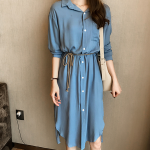 Waist Belt Button Up Splinted Mini Shirt Dress - Blue