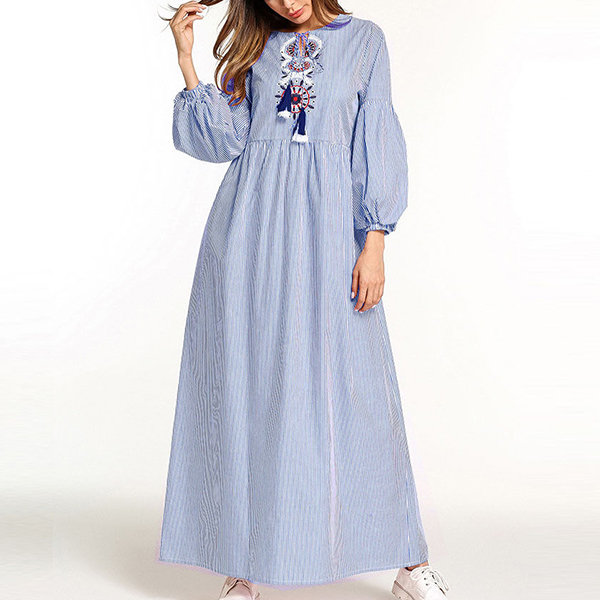 Striped Boho Embroidery Long Muslim Dress