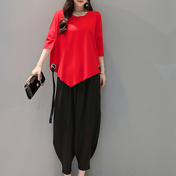 Loose Solid Bat Blouse Shirt With Crotch Pants - Red