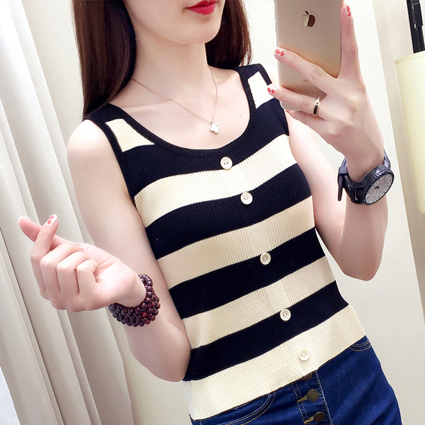 Casual Wear Striped Summer Blouse Top - Black