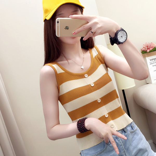 Casual Wear Striped Summer Blouse Top - Yellow