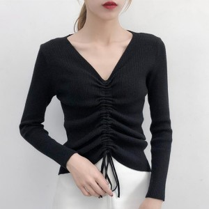 String Pattern Long Sleeves V Neckline Sweaters - Black