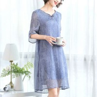 Round Neck Chiffon Printed Mini Dress - Blue
