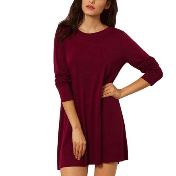Loose Waist Knit Long Sleeved Ladies Halter Dress