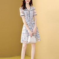 V Neck Printed A-Line Summer Wear Mini Dress
