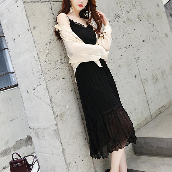 Shirt Collar Thin Outwear With Inner Beach Dress - Black