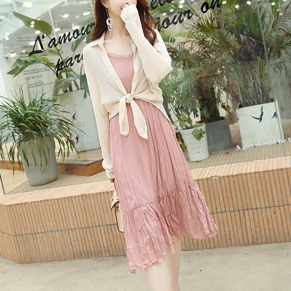 Shirt Collar Thin Outwear With Inner Beach Dress - Pink