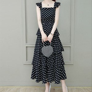 Ruffled Polka Dots Square Neck Long Dress - Black