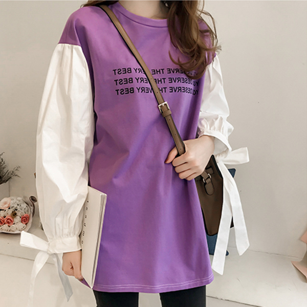 Sleeves Knotted Loose Long T-Shirt - Purple
