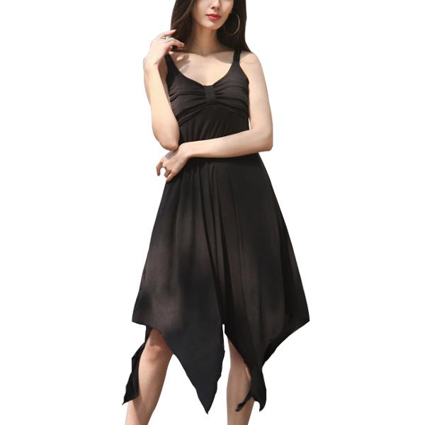 Strappy Knot Asymmetrical Hem Summer Party Dress Black