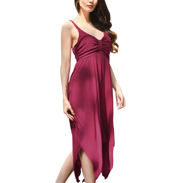 Strappy Knot Asymmetrical Hem Summer Party Dress Red