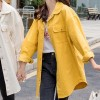 Long-sleeved Casual Mid-length Loose Women Jackets - Yellow