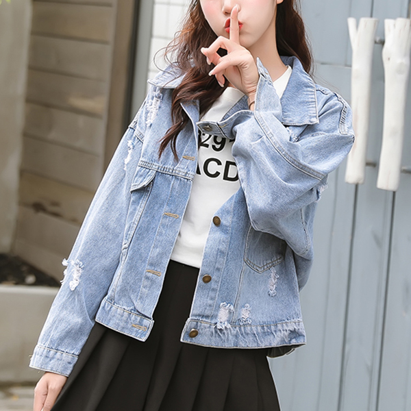 Ripped Denim Loose Outwear Casual Jacket