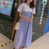 Fake Two Pieces Frilled Waist Check Prints Dress - Blue