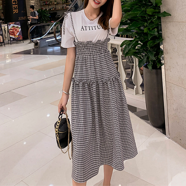 Fake Two Pieces Frilled Waist Check Prints Dress - Black