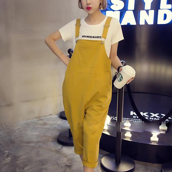 Strap Buckle Loose Casual Wear Bib Pants - Yellow